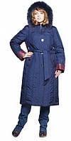 Зимнее женское пальто-пуховик с мехом песца