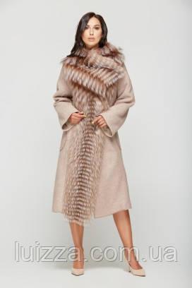 Пальто вільного крою з хутром