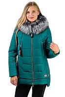 Куртка женская зимняя теплая  с мехом удлиненная с капюшоном зеленая изумрудная на молнии Украина