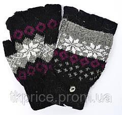 Женские шерстяные перчатки без пальцев с накидным верхом, фото 3
