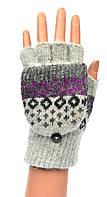 Женские шерстяные перчатки без пальцев с накидным верхом