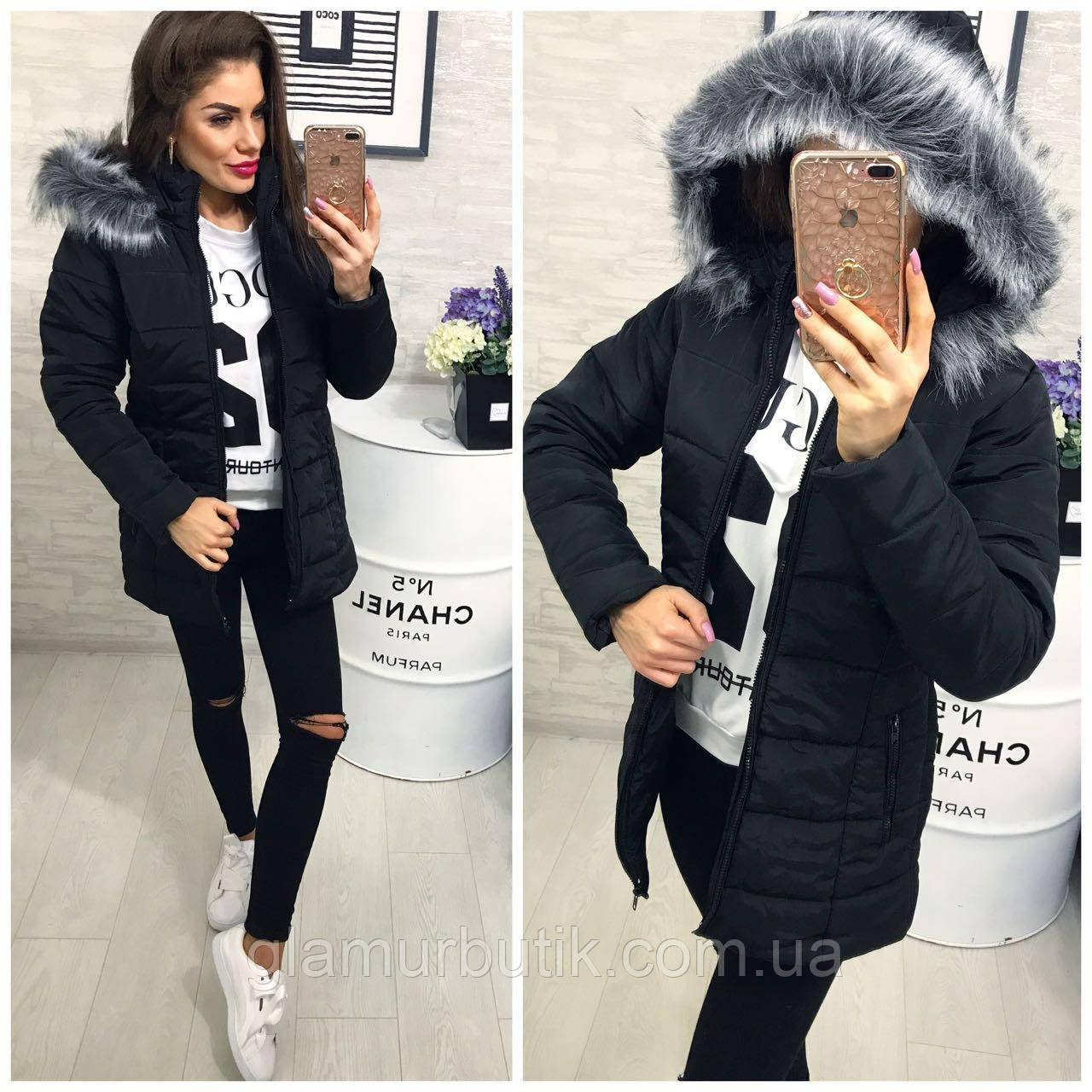 Тёплая Женская Длинная Куртка Пуховик Memory со Съёмным Капюшоном и Мехом  Чёрная — в Категории
