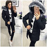 Тёплая женская длинная куртка пуховик Memory со съёмным капюшоном и мехом чёрная
