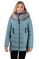Зимняя куртка на синтепоне женская теплая удлиненная с мехом и капюшоном серая голубая на молнии Украина