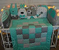 Бортики,захист в ліжечко+простинька+ одіялко із лоскуткв 1456