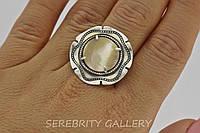Серебряное кольцо 18,5 р  коричневое с перламутром 1284 BrP 18,5