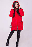Зимний пуховик с декором из меха на карманах 46-60рр красный