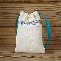 Подарочный мешочек из светлой мешковины с меандром на тесемках, Ш85хВ130мм