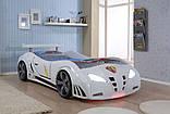 Детская кровать машинка гоночная машина белая F1, фото 3