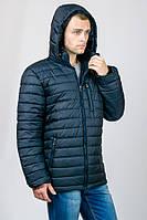Зимняя куртка мужская теплая пуховик с капюшоном на молнии синяя темная Украина
