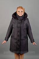 Зимнее стеганное плащевое пальто