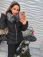Демисезонная черная женская куртка с мехом.