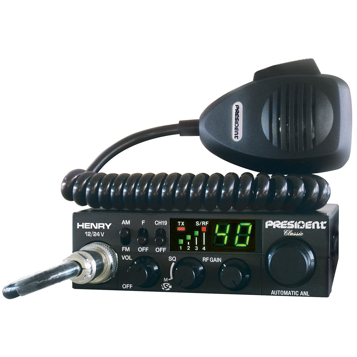 Радиостанция CB President Henry ASC 12/24V  (Автомобильная 27 МГЦ)