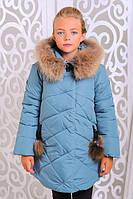 Теплая куртка «Вика-дочка» на девочку 8-12 лет (зима 2017/18 р. 34-40/128-146 см, енот) ТМ MANIFIK Сталь