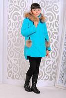 Зимняя куртка «Вика-дочка» с натуральной опушкой на девочку 8-11 лет (2017/18, р. 34-38/128-140) ТМ MANIFIK Бирюзовый