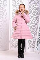 Теплая куртка «Марианна» с натуральным мехом на девочку 8-9 лет (зимнее пальто, р. 34-36/128-134) ТМ MANIFIK Пудра