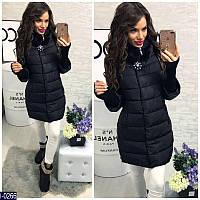 Женская куртка плащевка на холофайбере с отстегивающими вязаными рукавами черного цвета. Арт - 18236