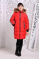 Длинная детская куртка «Челси» на девочку 7-15 лет (зимняя коллекция 2017/18 р. 32-44 / 122-158) ТМ MANIFIK Красный