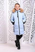 Теплая куртка «Челси» зимняя на девочку 7-9 лет (съемный капюшон, р. 32-36 / 122-134 см) ТМ MANIFIK Лед