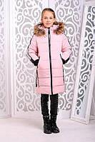 Зимняя куртка (пальто) «Челси» на девочку 9, 11 лет (опушка с натур. мехом, р. 36, 40 / 134-146 см) ТМ MANIFIK Пудра