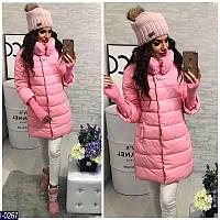 Женская куртка плащевка на холофайбере с отстегивающими вязаными рукавами розового цвета. Арт - 18236