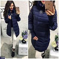 Женская куртка плащевка на холофайбере с отстегивающими вязаными рукавами темно-синего цвета. Арт - 18236