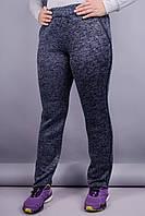 Молния. Женские спортивные штаны плюс сайз. Графит.