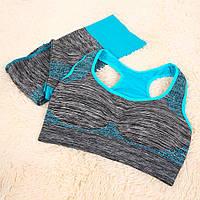 Спортивный комплект топ леггинсы для тренировок МЕЛАНЖ M, L, серый / голубой