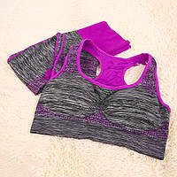 Спортивный комплект топ леггинсы для тренировок МЕЛАНЖ L, S, серый / фиолет