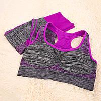 Спортивный комплект топ леггинсы для тренировок МЕЛАНЖ L, M, серый / фиолет