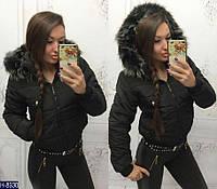 Зимняя короткая женская куртка с меховым капюшоном черного цвета. Арт - 18248