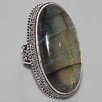 Великолепное кольцо с камнем лабрадор в серебре. Индия!