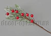 Ветка хвои в снегу с ягодами 33см SM16-383