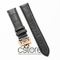 Кожаный ремешок с застежкой для часов Vacheron Constantin black gold 21 мм на 18 мм (07473)