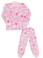 Утепленная детская пижама (кофта и брюки) (Розовый, cердце)