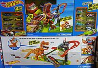 Трек Хот Вилс Атака Динозавра Рекса ПЛЮС 18 машин, Hot Wheels T-Rex Takedown Playset, Оригинал из США
