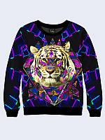 Женский свитшот Тигр и цветной орнамент