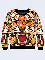 Женский свитшот Негодующий тигр арт