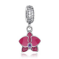 Серебряная подвеска-шарм Пандора (Pandora) орхидея