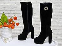 Классические женские Сапоги из натуральной нежной замши черного цвета на высоком обтяжном каблуке, Коллекция Осень-Зима 2017-2018, М-17346