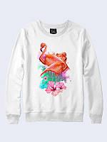 Женский свитшот Фламинго и цветы