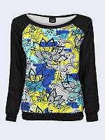 Женский свитшот Жёлто-голубые цветы