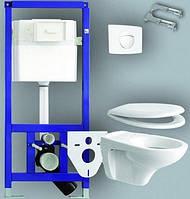 Инсталяционная система Sanit для  подвесного унитаза + унитаз + сиденье + кнопка хром 90.770.81.0002