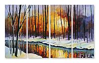 Модульная картина снег и деревья