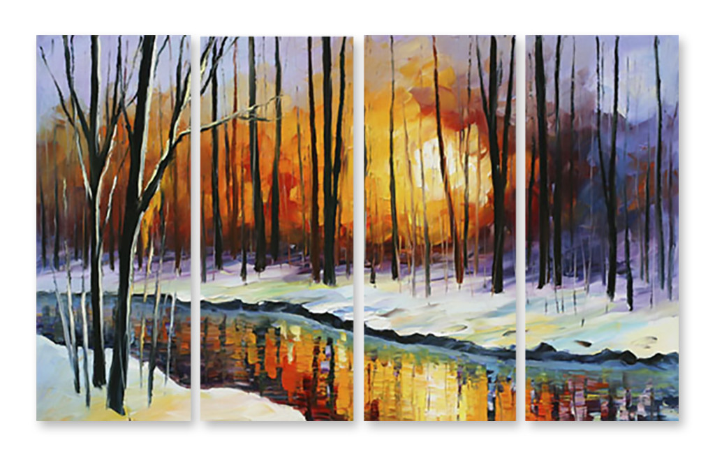 Модульная картина снег и деревья - Принт Маркет в Днепре