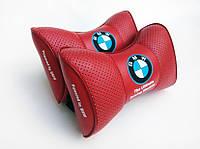 Подушки на подголовник  с логотипом автомобиля BMW красный цвет