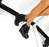 Зимние ботиночки Fashion танкетка 11 см, натуральная кожа внутри натуральный мех