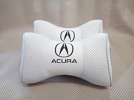 Подушка подголовник логотип Acura белый цвет перфорация