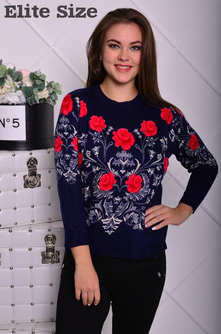 Батальный свитерок в цветочный принт.