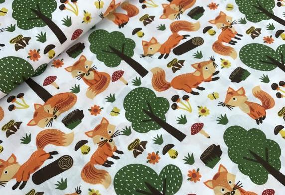 a8d9b08ab2c00 Ткань польский хлопок лисички с деревьями на белом: продажа, цена в ...
